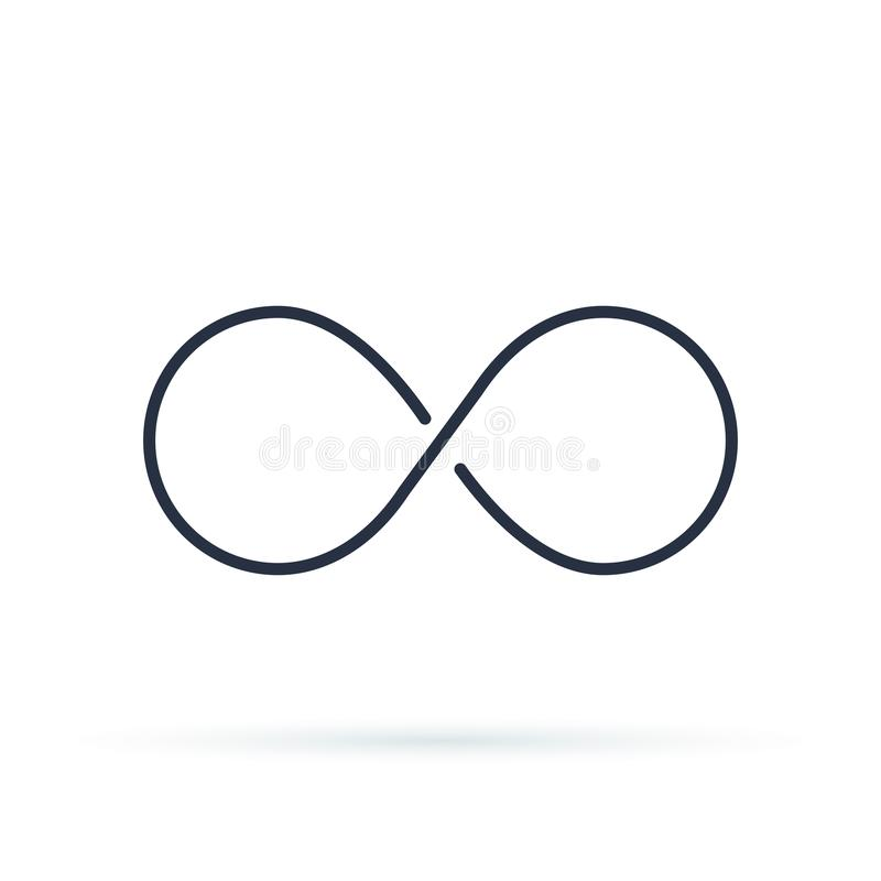 Logotipo do ícone da infinidade Ilustração ilimitada do vetor, símbolo ilimitado Contorno preto de oito, espessura ilustração do vetor