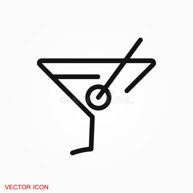 Logotipo do ícone de Martini, ilustração, símbolo do sinal do vetor para o projeto fotos de stock