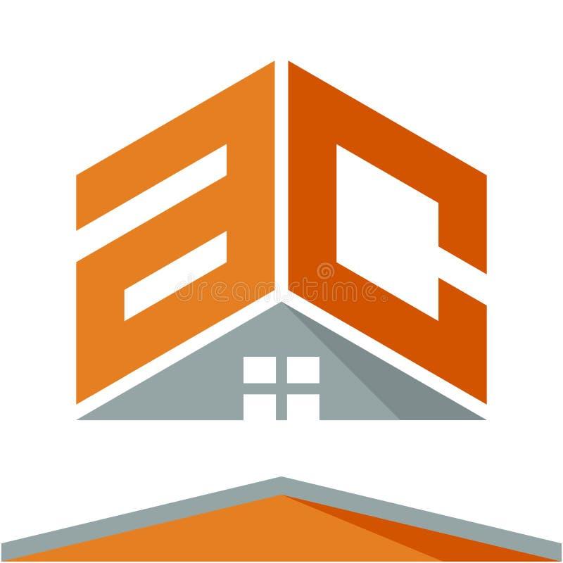 Logotipo do ícone para a indústria da construção com o conceito dos telhados e combinações das letras A & C ilustração do vetor