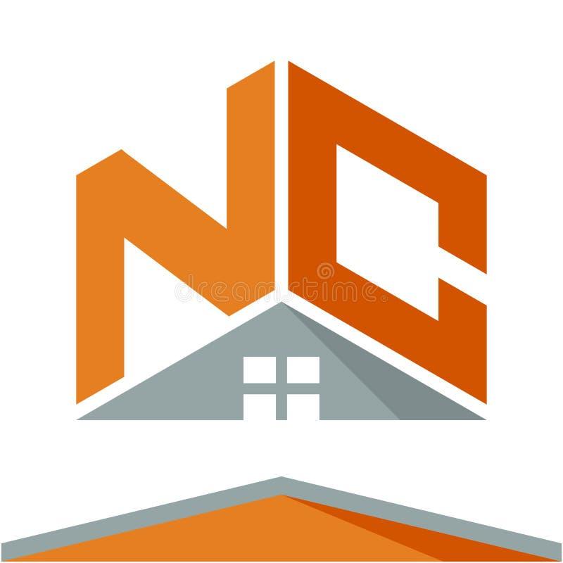 Logotipo do ícone para a indústria da construção com o conceito dos telhados e combinações das letras N & C ilustração do vetor