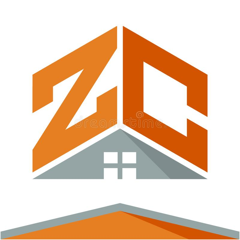 Logotipo do ícone para a indústria da construção com o conceito dos telhados e combinações das letras Z & C ilustração royalty free