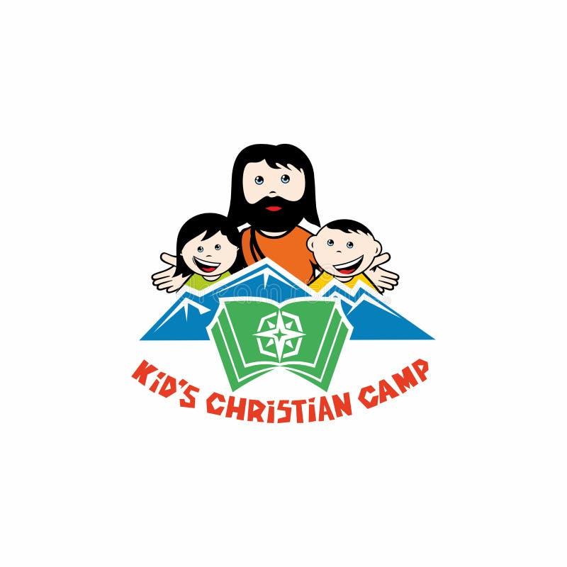 Logotipo do acampamento do cristão do ` s da criança Jesus e as crianças ilustração stock