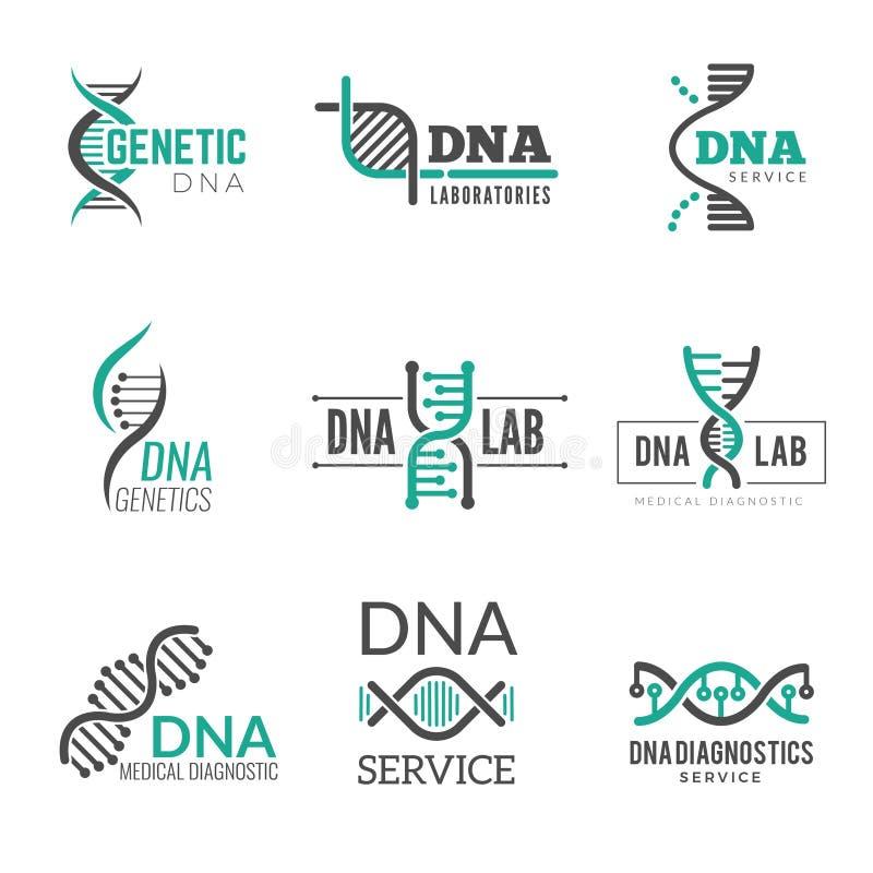 Logotipo do ADN Identidade do negócio do vetor de Biotech da hélice dos símbolos da ciência genética ilustração do vetor