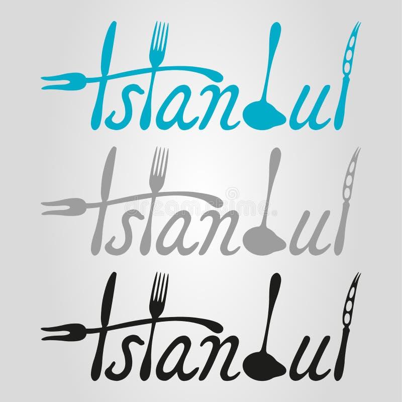 Logotipo do alimento de Istambul ilustração stock