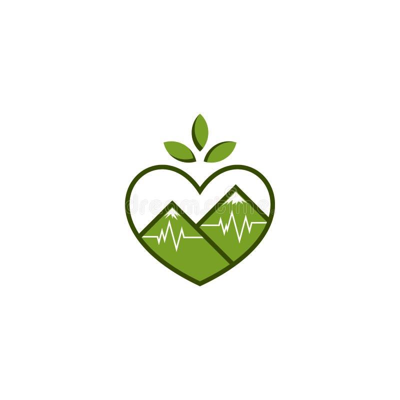Logotipo do amor do batimento cardíaco da montanha da natureza ilustração royalty free