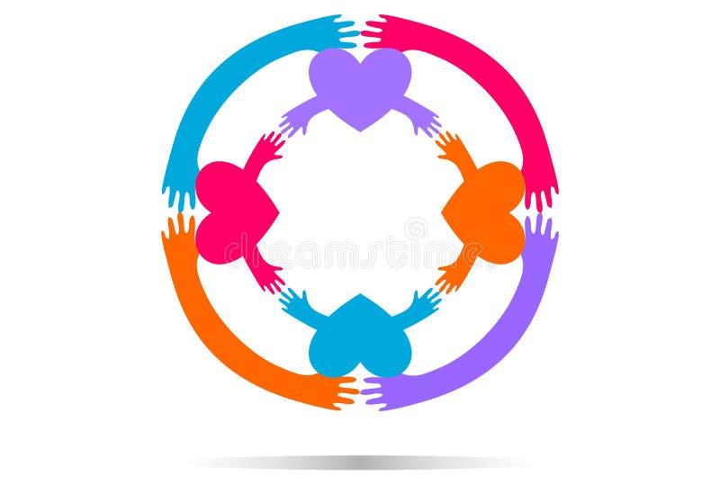 Logotipo do amor do círculo da mão ilustração royalty free