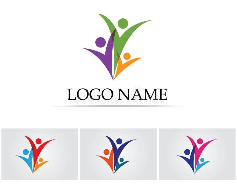 Logotipo do amor do cuidado da família e molde dos símbolos ilustração royalty free