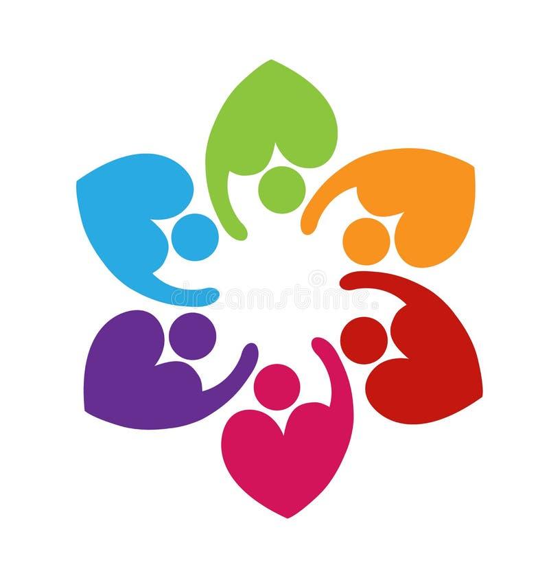 Logotipo do amor do coração dos trabalhos de equipa ilustração royalty free