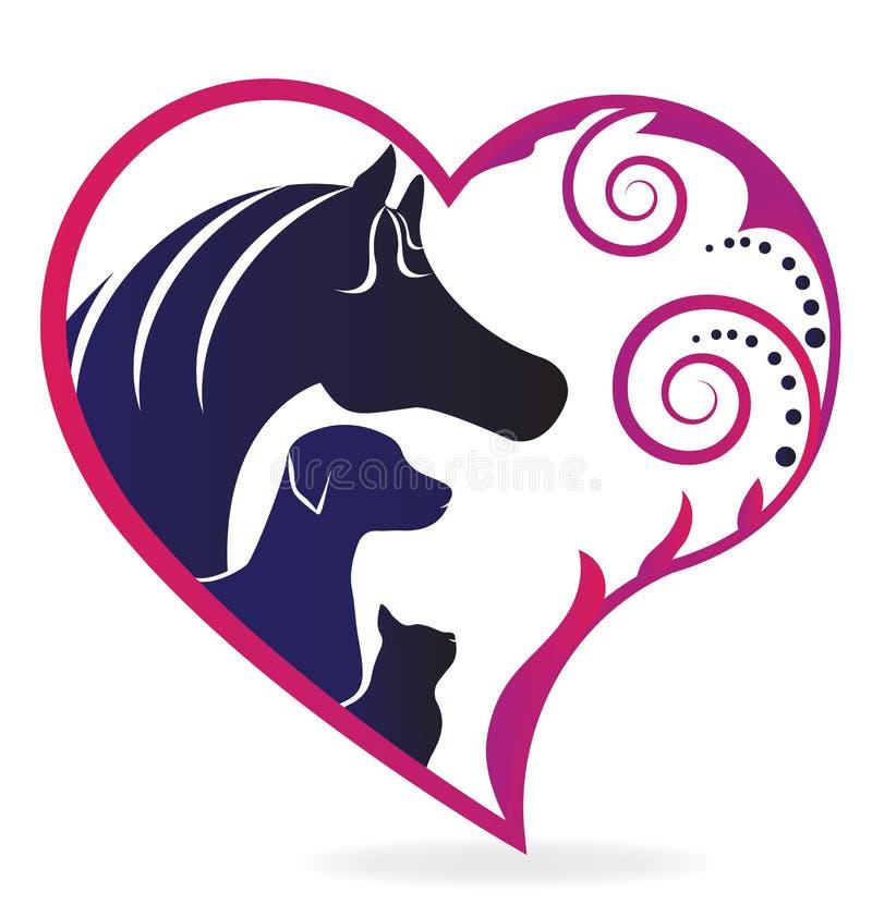 Logotipo do amor do gato e do cão do cavalo ilustração royalty free