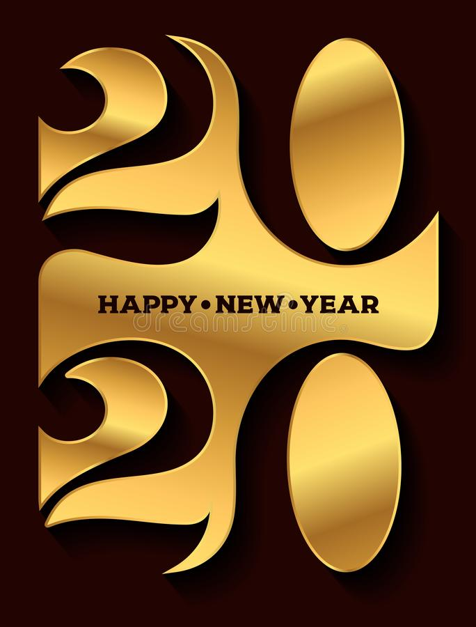 Logotipo do ano 2020 novo feliz Gráficos do texto da celebração Tampa do di?rio do neg?cio para com desejos Molde do projeto do f ilustração do vetor