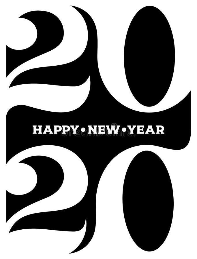Logotipo do ano 2020 novo feliz Gráficos do texto da celebração Tampa do di?rio do neg?cio para com desejos Molde do projeto do f ilustração royalty free