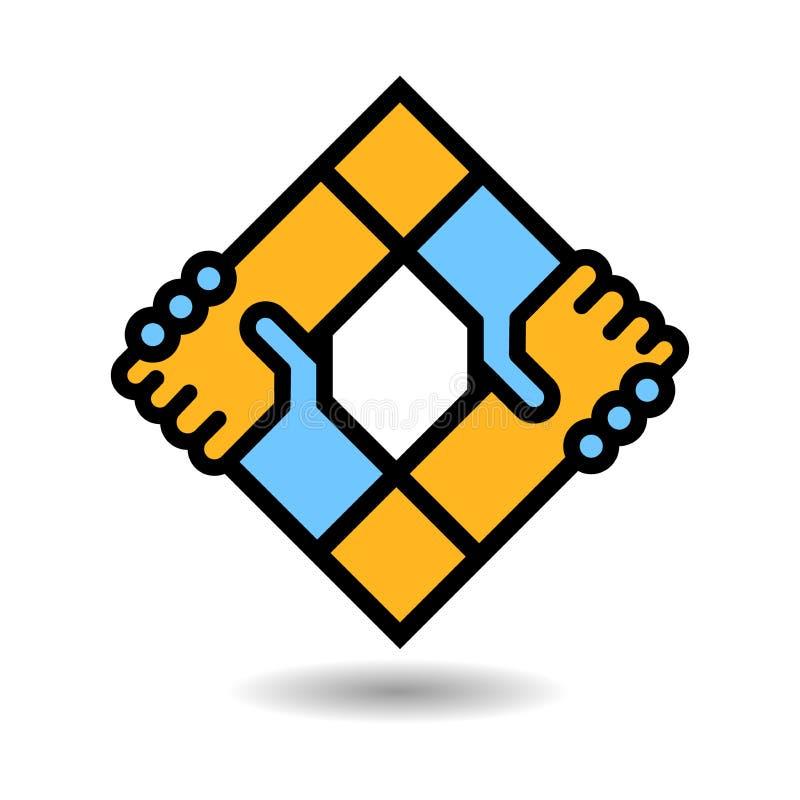 Logotipo do aperto de mão ilustração do vetor
