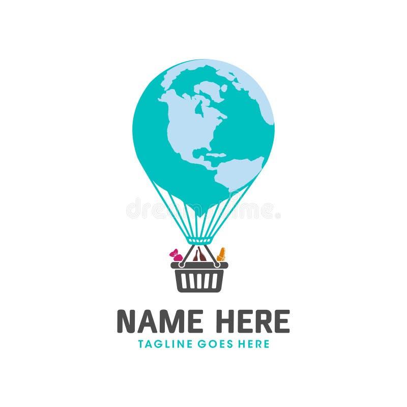 Logotipo do balão de ar do mundo ilustração do vetor