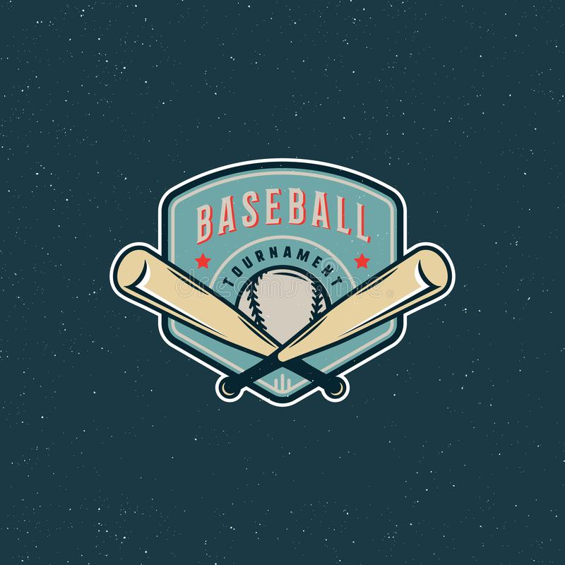 Logotipo do basebol do vintage emblema denominado retro do esporte Ilustração do vetor ilustração do vetor