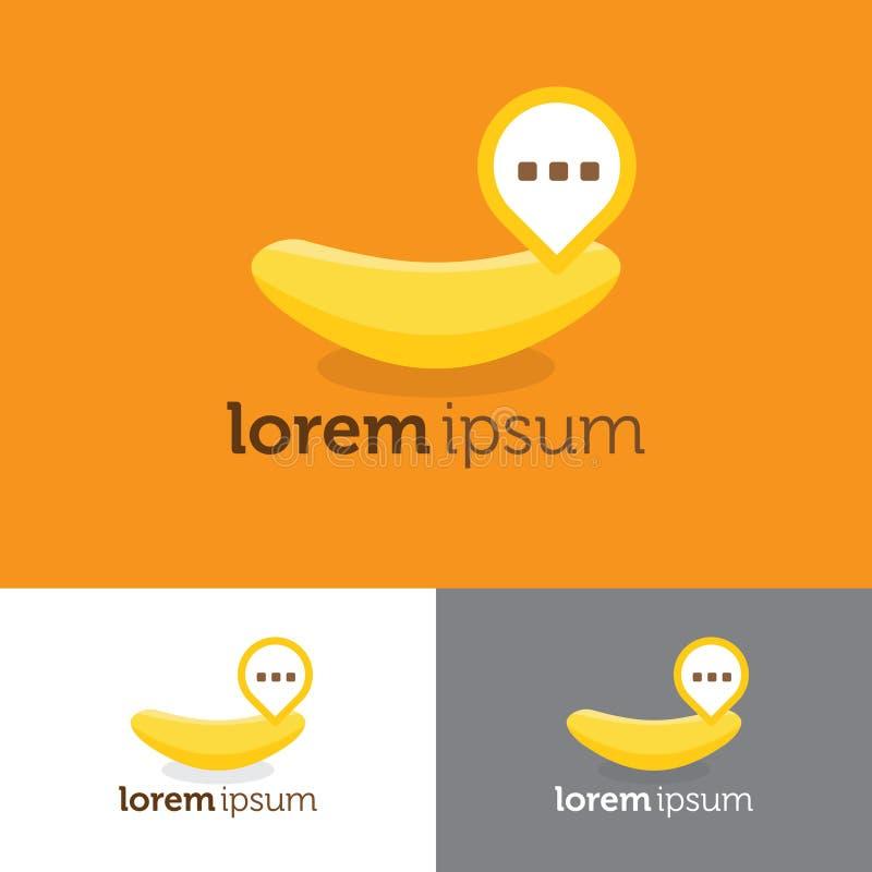 Logotipo do bate-papo da banana para a aplicação ilustração do vetor