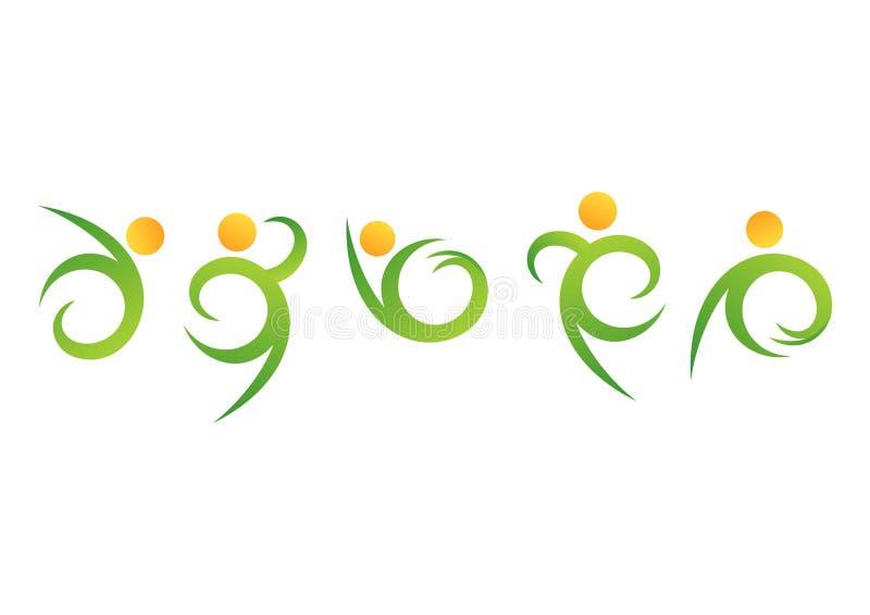 Logotipo do bem-estar dos povos da natureza, símbolo natural da aptidão, vetor da cenografia do ícone da saúde do corpo humano ilustração royalty free