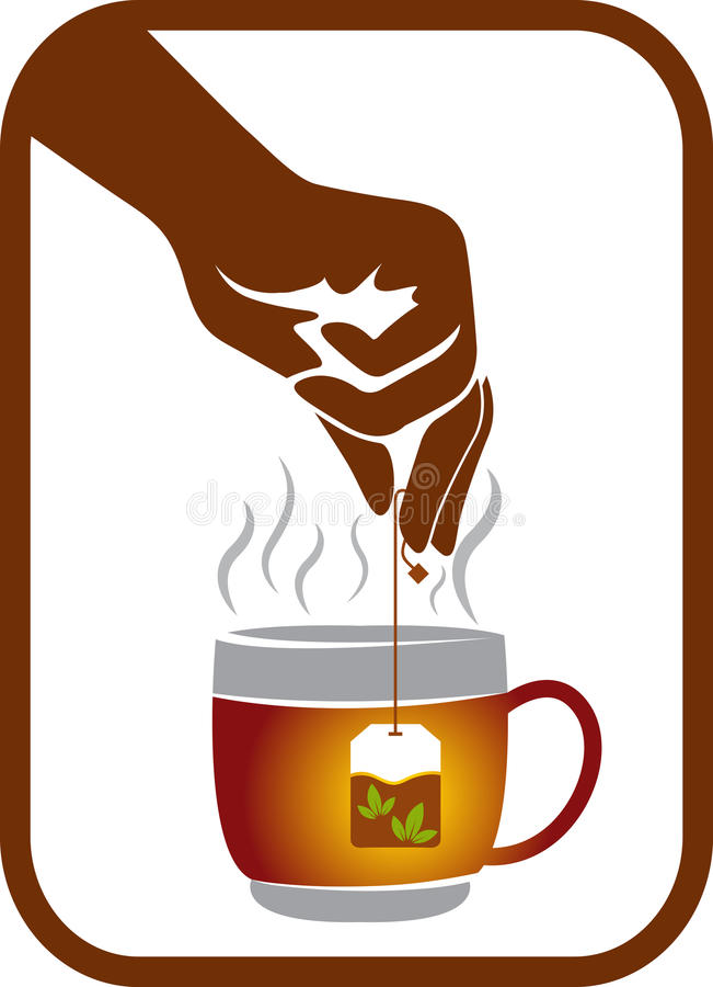 Logotipo do bloco do chá da mão ilustração stock
