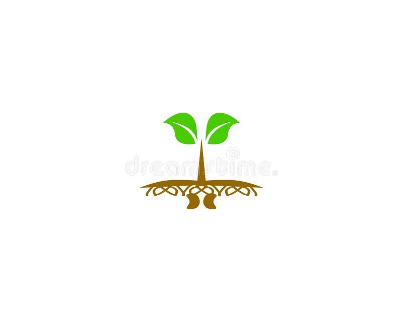 Logotipo do broto da semente ilustração do vetor