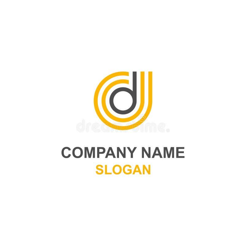 Logotipo do círculo da inicial da letra de D ilustração royalty free