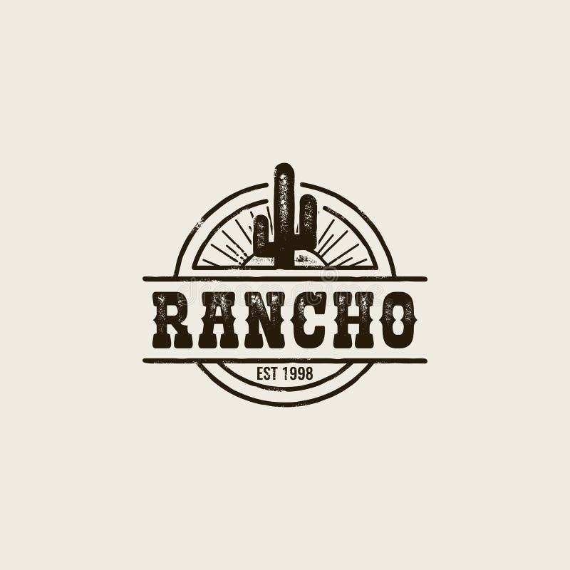 Logotipo do cacto do rancho ilustração do vetor