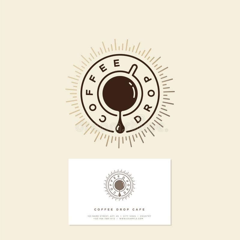 Logotipo do café da gota do café Emblema do café Gota do café e uma xícara de café com raios de sol do ouro fotos de stock