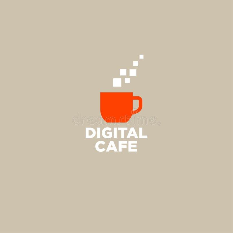 Logotipo do café de Digitas Logotipo do café do pixel Símbolo de ruptura do café Um copo alaranjado e um par de pixéis ilustração do vetor