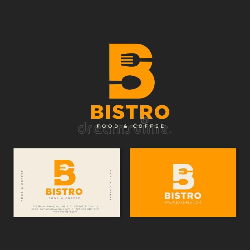 Logotipo do café dos restaurantes Letra amarela de B com a forquilha e a colher, isoladas em um fundo escuro identidade ilustração stock