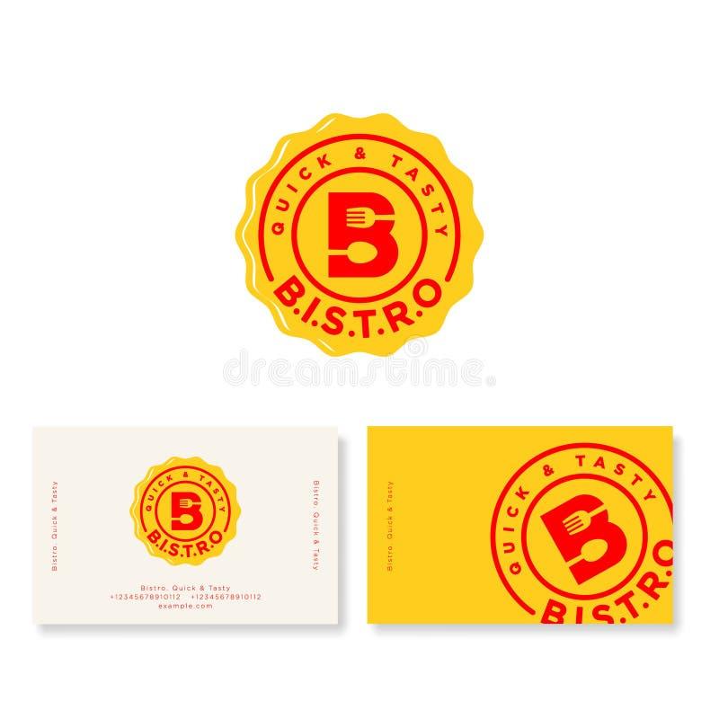 Logotipo do café dos restaurantes Letra de B com forquilha e colher no crachá amarelo identidade ilustração royalty free