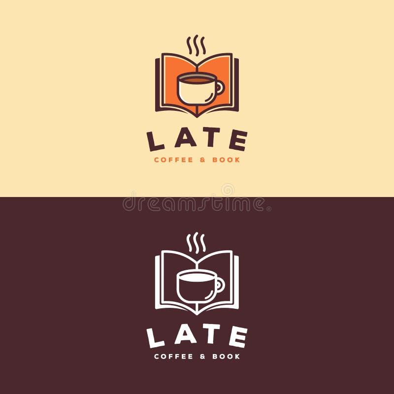 Logotipo do café & do livro ilustração royalty free