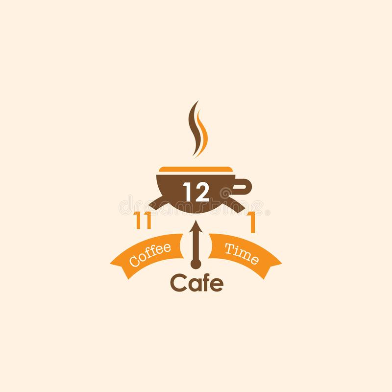 Logotipo do café do tempo de Coffe por Niquebickin foto de stock