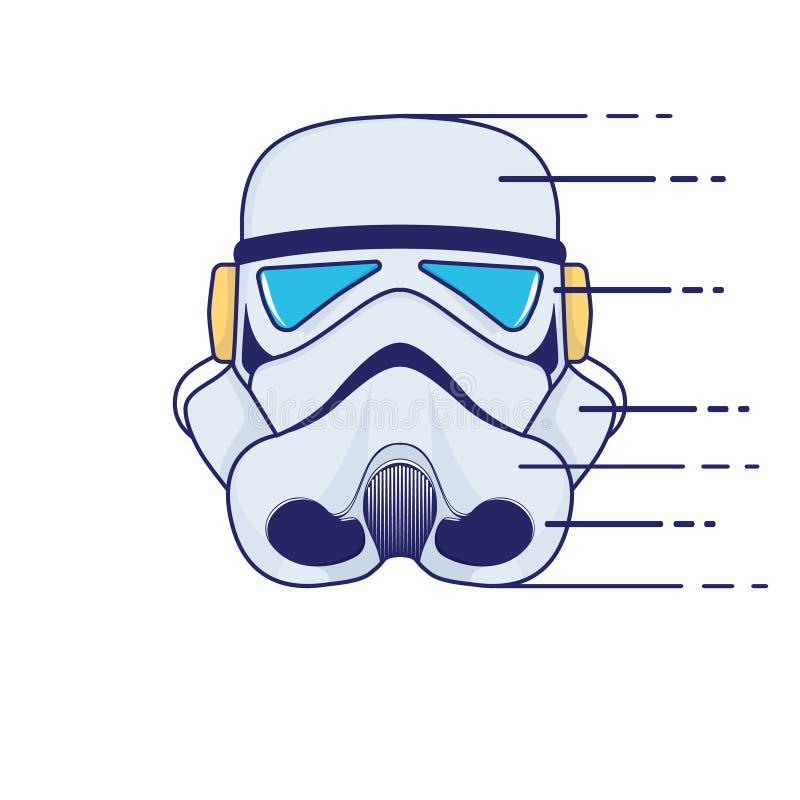 Logotipo do capacete de espaço Ilustração do vetor da estilística da cor ilustração royalty free