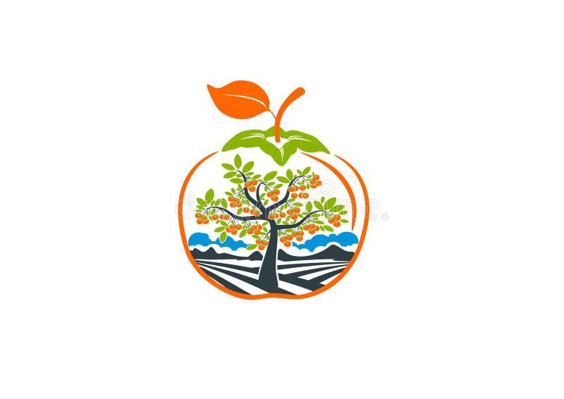 Logotipo do caqui da árvore ilustração stock