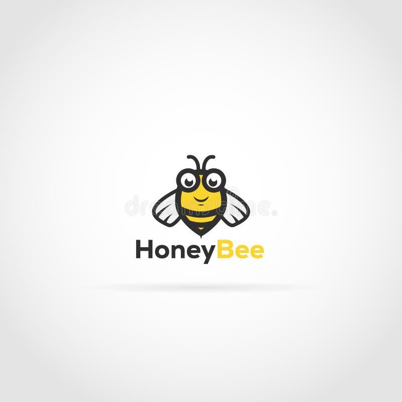 Logotipo do caráter da abelha ilustração royalty free