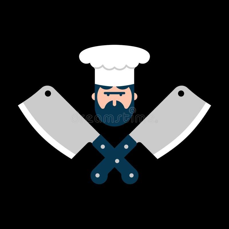 Logotipo do carniceiro Cozinheiro chefe e faca para a carne Etiqueta da churrasqueira Butche ilustração stock