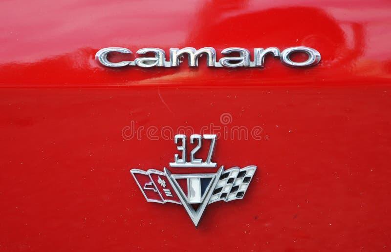 Logotipo do carro 1967 antigo de Chevrolet Camaro fotografia de stock royalty free