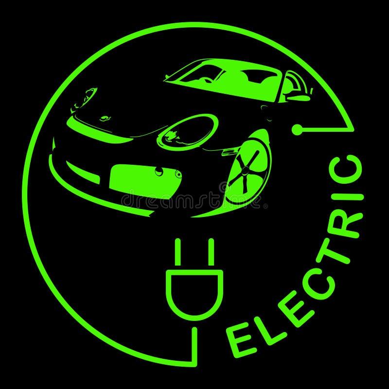 Logotipo do carro bonde Símbolo dos veículos de Eco Ícone ecológico do transporte Ilustração do vetor ilustração stock