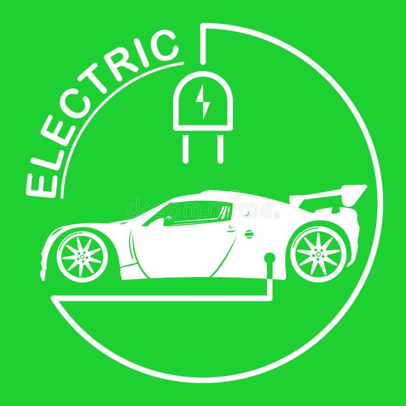 Logotipo do carro bonde Símbolo dos veículos de Eco Ícone ecológico do transporte Ilustração do vetor ilustração royalty free