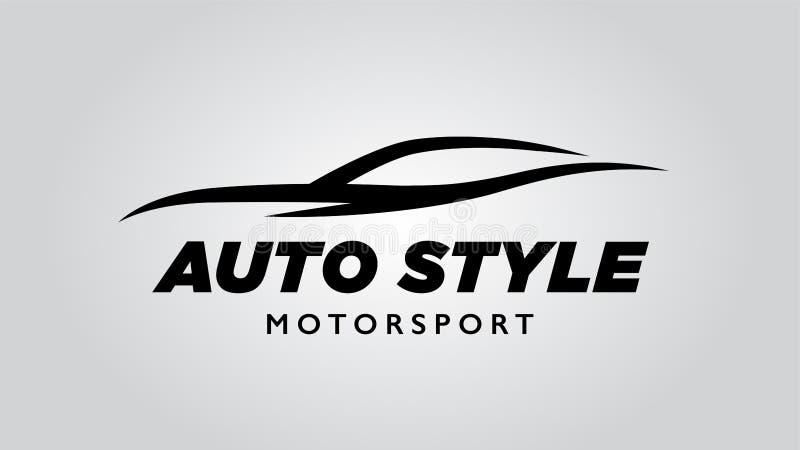 Logotipo do carro de esportes do estilo do sumário auto com a silhueta do ícone do veículo do conceito ilustração royalty free