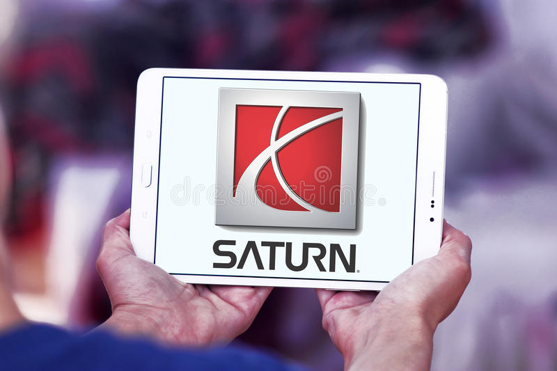 Logotipo do carro de Saturn foto de stock