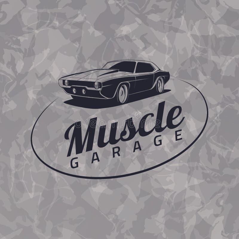 Logotipo do carro do músculo ilustração do vetor