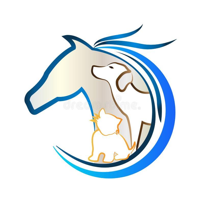 Logotipo do cavalo, cão e gato Etiqueta animal dos amantes ilustração stock