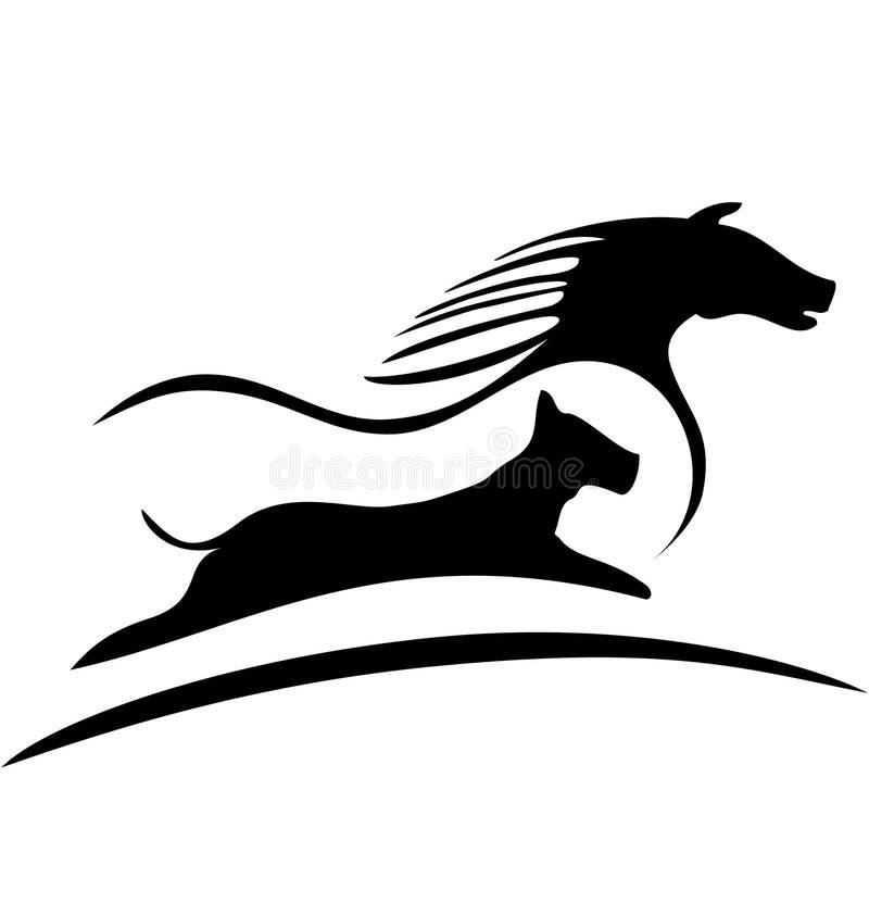Logotipo do cavalo e do cão ilustração do vetor