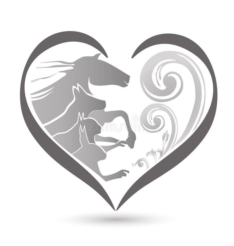 Logotipo do cavalo e do coelho do cão do gato ilustração do vetor
