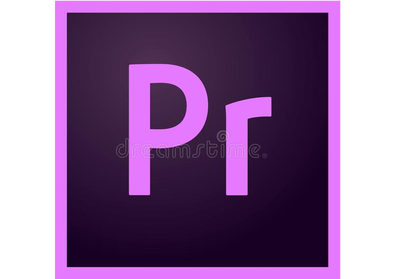 Logotipo do centímetro cúbico da premier de Adobe ilustração do vetor