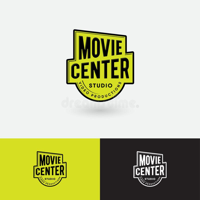 Logotipo do centro do filme Emblema video do estúdio da produção Símbolo da concessão do ouro com letras ilustração royalty free