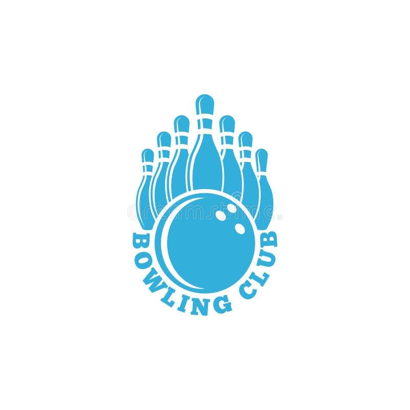 Logotipo do clube do boliches emblema azul do esporte com bola e boliches de nove garrafas, bandeira do competiam da pista de bol ilustração do vetor