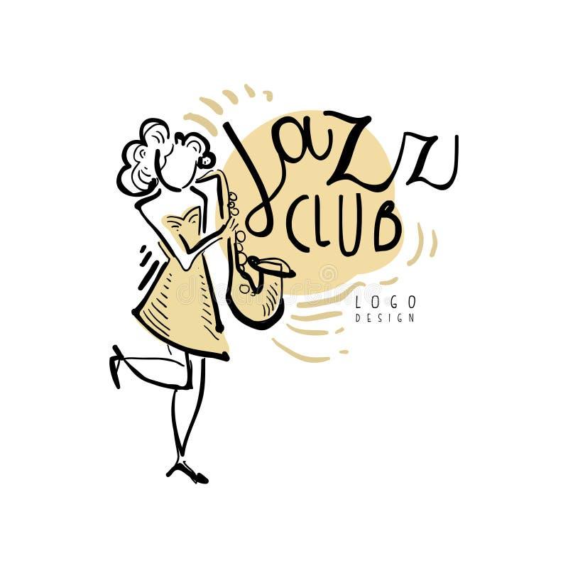Logotipo do clube de jazz, etiqueta da música do vintage com a mulher que joga o saxofone, elemento para o inseto, cartão, folhet ilustração royalty free