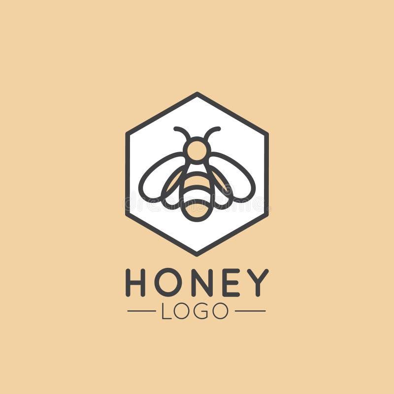 Logotipo do conceito da exploração agrícola, do Honey Product, da loja ou do mercado da abelha ilustração royalty free
