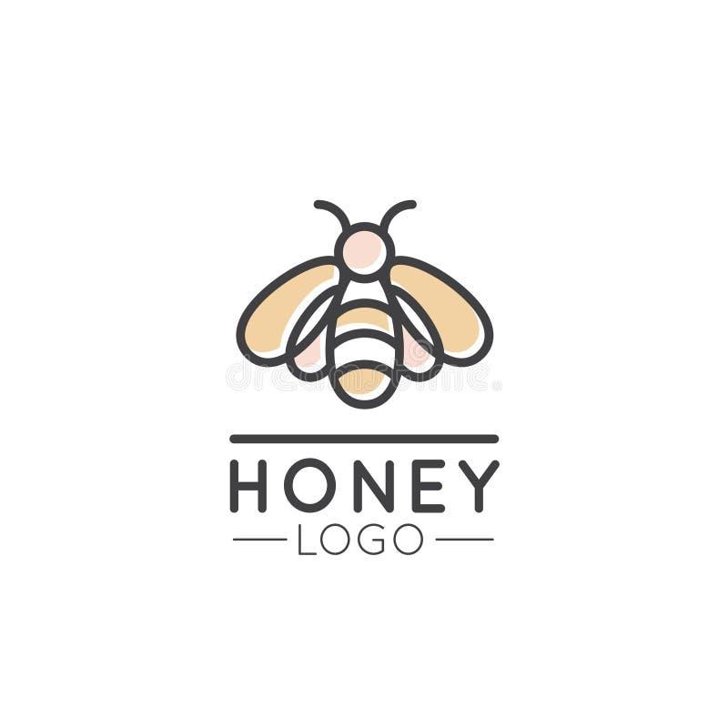 Logotipo do conceito da exploração agrícola, do Honey Product, da loja ou do mercado da abelha ilustração stock