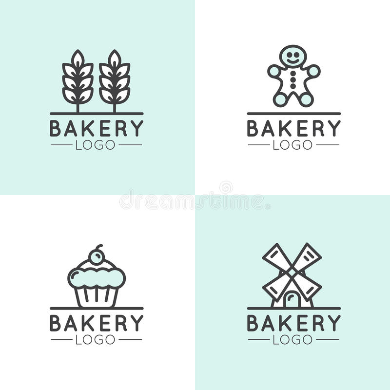 Logotipo do conceito da padaria, do moinho, do produto do pão, da loja ou do mercado, símbolos para a Web e móvel isolados, ponto ilustração stock